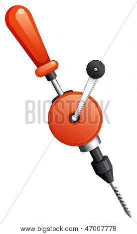 Illustration of a hand drill on a white background
