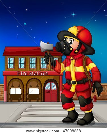 Illustration of a fireman holding an ax outside the fire station