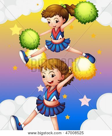 Illustration of the two cheerdancers with their pompoms