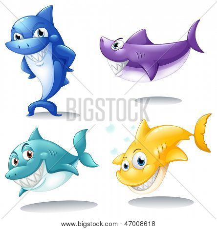 Illustration of a group of sharks on a white background