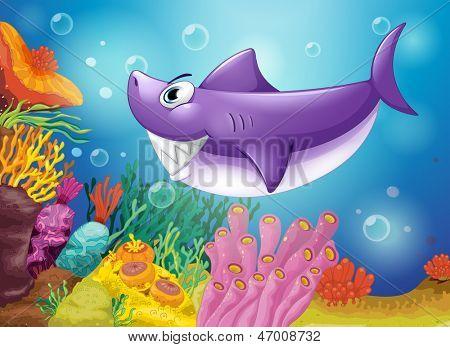 Illustration of a smiling violet shark under the sea