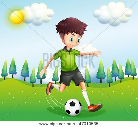 Illustration of a boy playing football in the hill