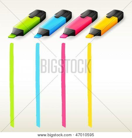 Ilustração das marca-textos coloridos em um fundo branco