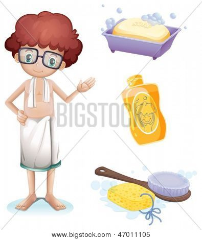 Illustration of a boy with a soap, shampoo, brush and sponge on a white background