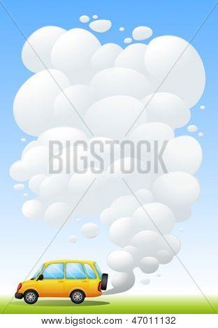 Ilustração de uma carrinha amarela emitindo fumaça