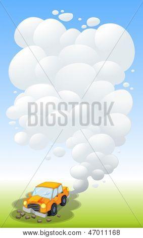 Ilustração de um carro danificado, soltando fumaça
