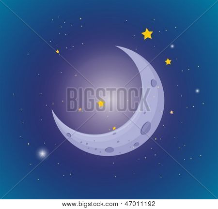 Illustration of the moon and stars in the sky