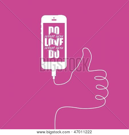 Minimal illustration with smart phone and inspirational writing and wire forming