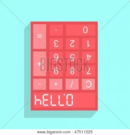 Calculator display with HELLO formed from the upside down numerals 07734 when viewed inverted, conceptual illustration.