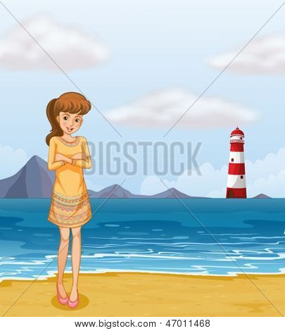 Illustration of a pretty girl at the beach