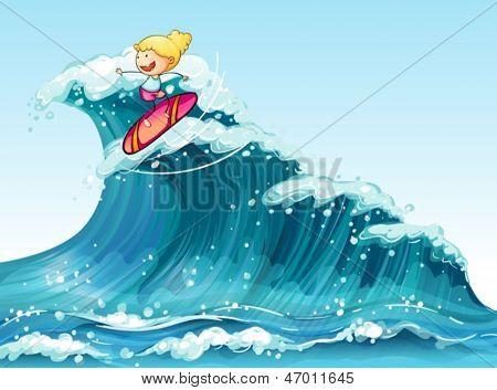 Illustration of a brave female surfer