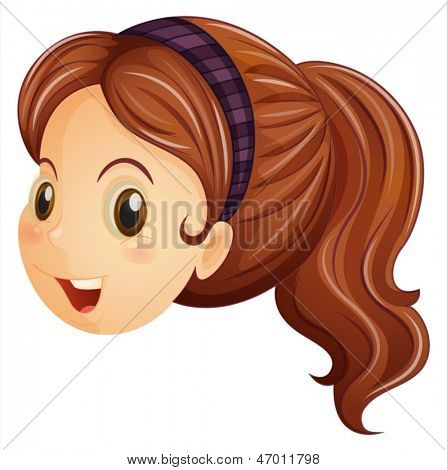 Illustration of a face of a girl with a headband on a white background
