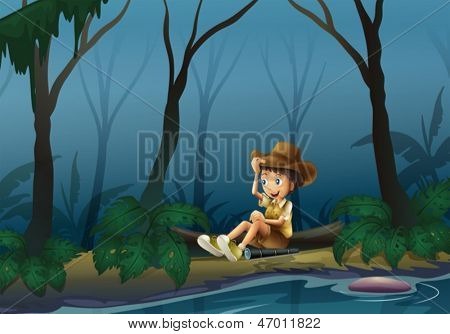 Illustration of a male explorer relaxing near the riverbank