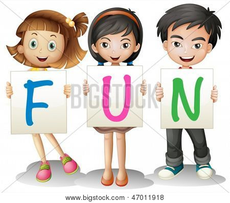 Illustration of a boy and a girl holding different letters on a white background