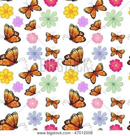 Illustration of the orange butterflies with colorful flowers on a white background