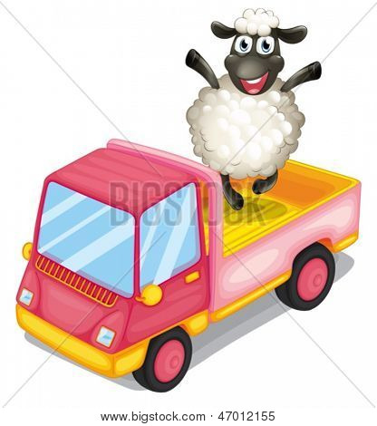 Illustration of a sheep standing at the back of a truck on a white background