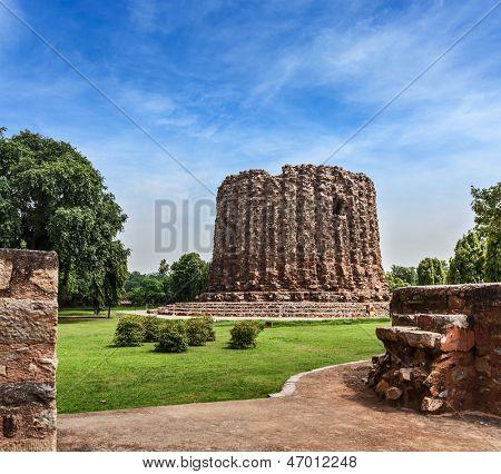 Alai Minar ruins, UNESCO World Heritage Site. Qutub Complex, Delhi, India
