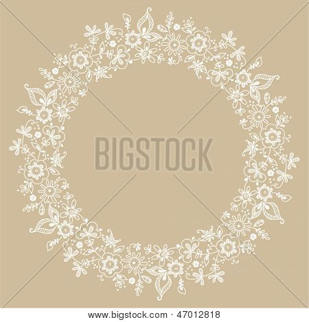 card with floral pattern. wreath of stylized tree branch.