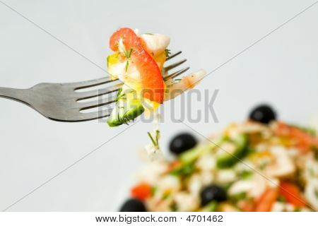 Fork With Fresh Salad