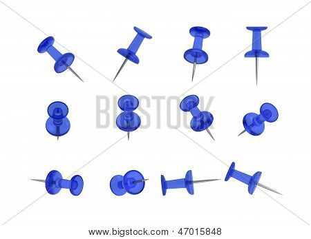 12 Realistic Thumbtacks - BLUE Set (Translucent Plastic)