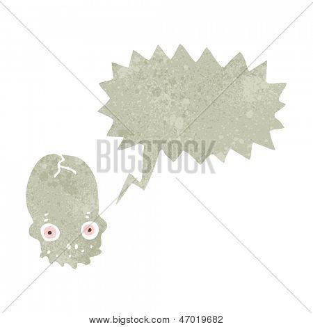 retro cartoon shrieking skull