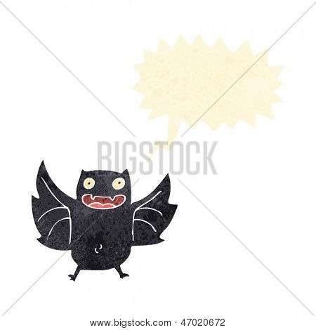retro cartoon screeching bat