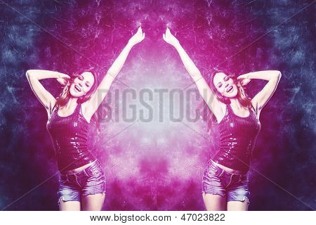 dancing woman in purple and blue colors studio shot
