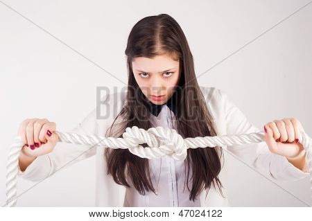 business woman with knot of