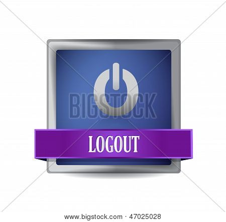 Logout Power Off Icon Illustration Design