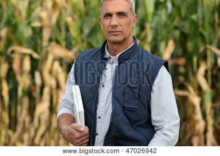 Farmer with computer