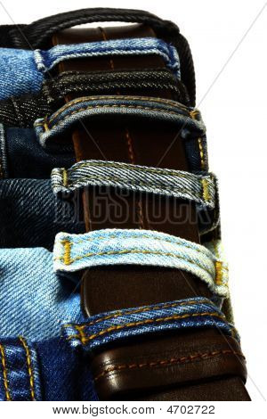 Jeans Straps  On The Leather Belt