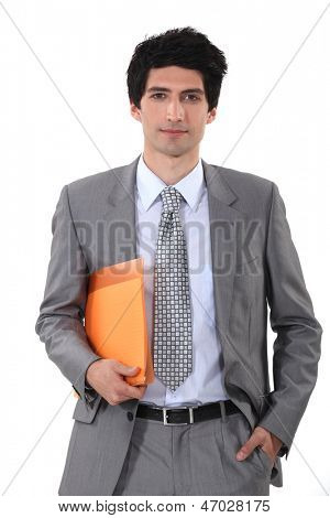 Man with folder in hand