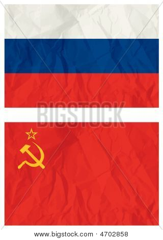Russian Falg And Old Ussr Flag, Vector Illustration