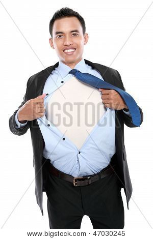 Young Business Man Tearing Off His Shirt