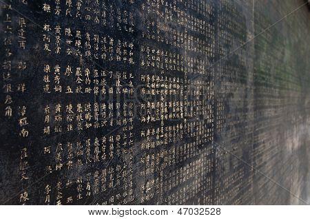 Chinese Characters On Black Wall, Guangzhou, China