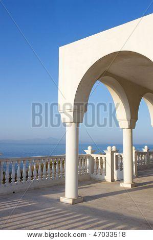 Griechische Insel blau und weiß