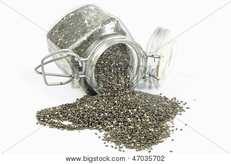 Salvia hispanica chia seeds on the white background