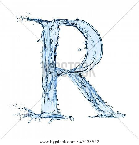 "Water letter ""R"" isolated on white background"