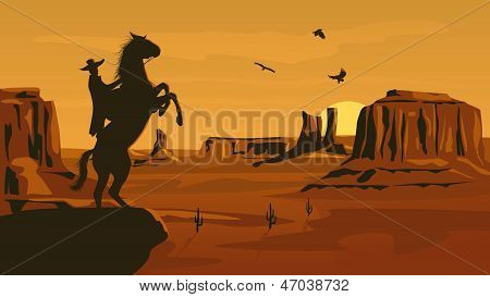 Horizontale Cartoon-Illustration der Prairie-Wild-West.