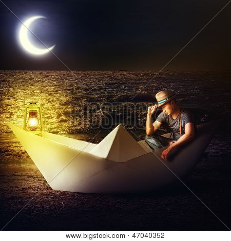 Man Traveler Sitting In Fantasy Paper Boat