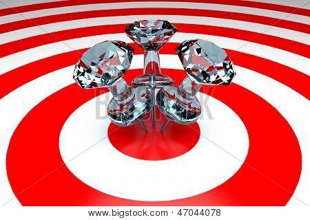 3D Thumbtacks On Target - Diamond