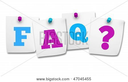 Faq And Question Mark On Post It