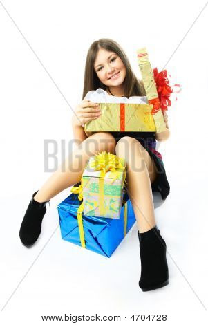 Happy Girl With Presents