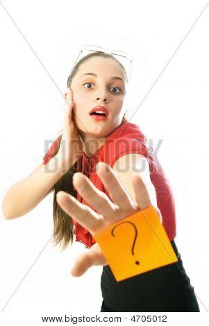 geschäftsfrau hat eine Frage
