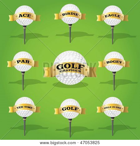 Golf Ball And Banner Design Elements