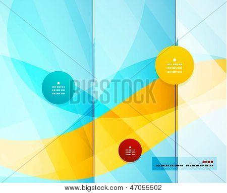 Blue wave shape business technology vector template