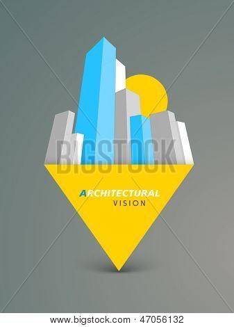3D concept of building construction, architecture modern city designing concept.