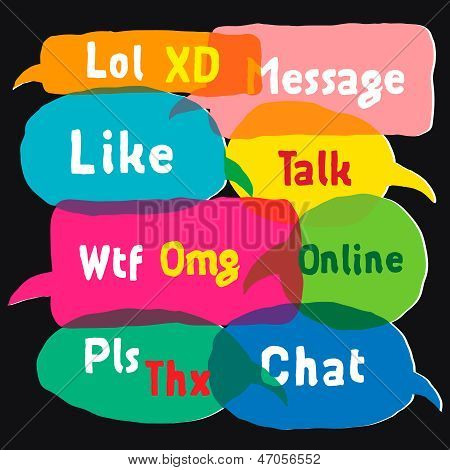 Multicolored speech bubbles with most common used acronyms
