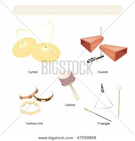 Set Of Indefinite Pitch Instruments On White Background