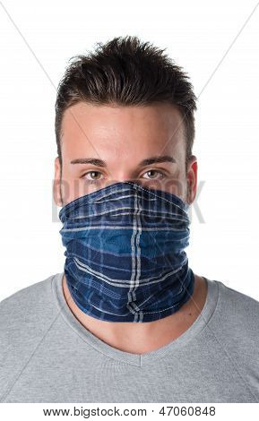 Young Man Masked As Robber Or Bandit